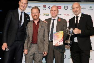 Danny Negus (second left) receives his individual award from Ransomes Regional Sales Director, UK & Ireland William Carr (second right), Derek Smith, DLF Johnsons Amenity Sales & Marketing Manager (far right) and BBC TV presenter Dan Walker. Photo courtesy of Colin Hoskins