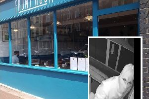 Front Room cafe in Seaford and right, the CCTV image released
