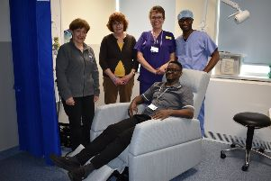 The Eastbourne Prostate Cancer Support Group donated the recliner chair to the DGH