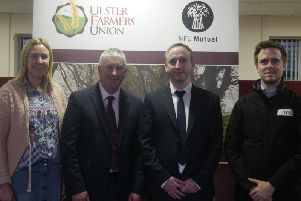 Pictured are representatives of Department of Infrastructure (DfI) Rivers and RPS Consulting Engineers meeting with the UFU to provide an update on the findings of the review of the Lough Neagh Operating Scheme.