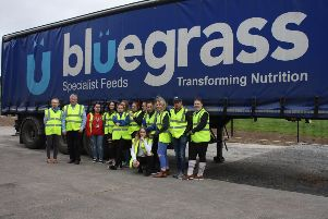 CAFRE Enniskillen Campus Level 2 students with representatives from Bluegrass pictured at their mill in Eglish, Co. Tyrone.