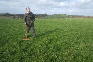 Dan Gilchrist from County Down, a member of a CAFRE suckler cow Business Development Group is planning for turnout. He is seen here assessing the grass cover on one of his swards using a plate meter.