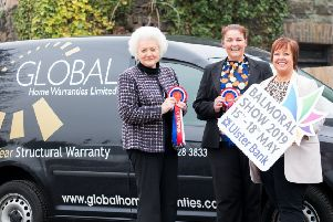 """Vickie White, RUAS, joins Maggie Allen, Financial Controller and Kathy McKenna, Director, to welcome Global Home Warranties as a new sponsor to this year�""""s Balmoral Show."""