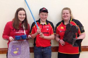 Pictured are Derg Valley YFC members, from left, Hannah Hemphill, Josh Hamilton and Lauren Moore, who are getting in character for their club's performance.