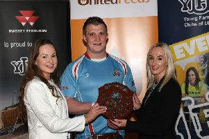YFCU president Zita McNaugher, senior member of the year James Purcell from Dungiven YFC, and Jenny Hamilton from United Feeds