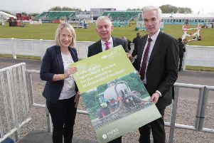 A new guide to help farmers improve the environment by reducing ammonia emissions has been launched by the Department of Agriculture, Environment and Rural Affairs (DAERA).'Produced in collaboration with the farming industry, the code provides farmers with a range of practical steps they can take to minimise emissions of this air pollutant which is harmful to the environment through the deposition of excess nitrogen on sensitive habitats.  Launching the code at Balmoral Show are (from left to right) Aileen Lawson, UFU Senior Policy Officer, Robin Irvine, Northern Ireland Grain Trade Association and Norman Fultion, DAERA