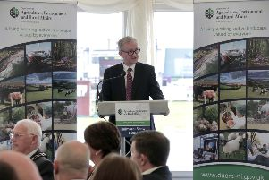 Addressing guests that the annual DAERA brekfast event at the Balmoral Show, Permanent Secretary Dr Denis McMahon said that the challenges facing the agriculture, trade and environment sectors over the next year can only be met through genuine engagement and collaboration. Photo Brian Thompson