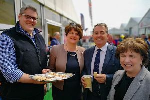 Diane Dodds pictured at Balmoral Show with Gavin Robinson MP, Party leader Arlene Foster and Secretary of Trade Liam Fox