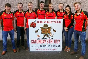 Members of Derg Valley YFC, pictured, are busy preparing for this years Omagh Show dance and barbecue, which will take place in Omagh Rugby Club on Saturday, July 6. Pictured are club members, from left, Adam Crockett, Samuel Hunter, Ashley Hamilton, Robbie Foster, Gareth Hamilton, Mark Hamilton, Kathryn Mitchell and Calvin Nethery