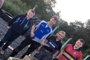 James Spence, Thomas Taylor, Zhara Hunter and Tom Lynsey with their completed planter