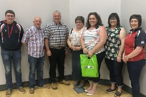 The Campbell Clan, first prize winners pictured with Roberta Simmons (club president) Stephen Gordon (club leader) and Mark Elliot