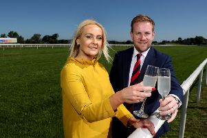 Pictured celebrating the partnership is (left to right) Emma Meehan, chief executive of Down Royal Racecourse and Stuart Carson, director of sales and marketing at Rainbow Communications