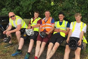 Richard Shilliday, Luke Milligan, Thomas Chambers, Joel Milligan and Scott Smith having a rest a long the Newry Canal Towpath
