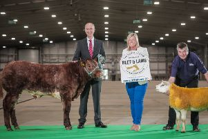 Ian Sheppard, NI Managing Director, Bank of Ireland joins RUAS Operations Director Rhonda Geary and Operations Manager David Browne to announce Bank of Ireland as headline sponsor of The Royal Ulster Premier Beef & Lamb Championships.