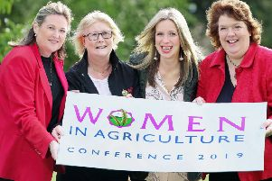UFU launch inaugural women in agriculture conference. Picture left to right: Roseann Kelly, WIB Chief Executive; Jennifer Hawkes, UFU rural affairs chairperson; Ruth Sanderson, BBC; and Paula McIntyre, chef.'Picture: Cliff Donaldson
