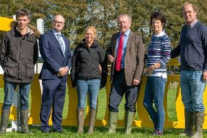 Pictured at the announcement of a new all-weather competition planned for Ballindenisk in Co Cork (left to right): Cathal Daniels (European eventing individual bronze medallist), Paul Sutton (senior executive officer economic bevelopment Cork County Council), Ros Canter (World eventing individual and team gold medallist), Minister Michael Creed TD, Valerie Murphy (chief executive of Avondhu Blackwater Partnership) and Peter Fell (event director, Ballindenisk)