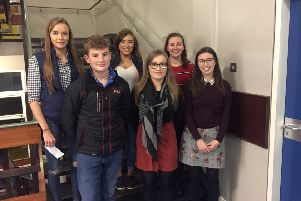 On Thursday, October 10 Moneymore YFC had six members travel to St Connor's College, Kilrea for the Co Londonderry public speaking heats. Kirsty Lee gained first place in the 18 to 21 age category for impromptu. Meanwhile, Sian Hogg gained second place in the prepared section in the 18 to 21 age category. Pictured left to right, Sian Hogg, Harry Walker, Kirsty Lee, Joyce Allen, Claire Forsythe and Ellen Bates