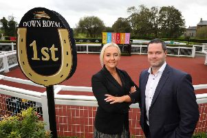 Left to right are Emma Meehan, chief executive of Down Royal Racecourse and Brendan Loughran, head of Business Unit Ireland, SHS Drinks, which owns the WKD brande