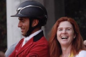Sameh El Dahan (left) who has qualified for the Tokyo Olympics with the Templepatrick owned mare Suma's Zorro owned by Joanne Sloan Allen (right). Pictured after winning the Nations Cup qualifier in Rabat Morocco.
