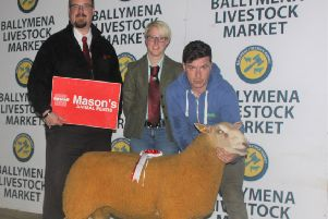 First placed December Ram shown by McConnell Brothers with Michael Copeland, Masons Animal Feeds and Rebecca McBratney, Judge