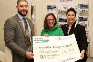 A massive £16,906 has been raised for Macmillan Cancer by local estate agents Libby Clarke and Colin Murphy. The well known duo from Joyce Clarke Estate Agents, Portadown decided to sign up for Macmillans 'Brave the Shave' in August, and in just a few weeks had attracted a staggering amount of donations.
