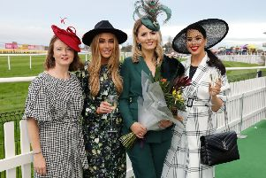 Winner of Galgorm Spa & Golf Resort Best Dressed Lady at Down Royal Racecourse, Rhiannon Hegarty (26) from Strabane Co. Tyrone is pictured with Beth Greenan, Group Sales Manager at Galgorm Spa & Golf Resort (left) and competition judges Irish Fashion Blogger Nicola Hughes (second left), and Rebecca McKinney, Cool FM Breakfast Show Presenter and Fashion Stylist (right)