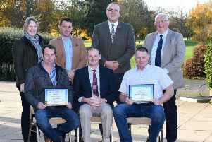 Oats: Left to right, is Back row Joyce McConnell (UFU Ballyclare Group), Canice O'Hara (Origin NI), David Matthews (UFU seeds and cereals chair), Mervyn Owens (Origin NI). Front row Kyle McCrea (2nd place), David Brown (UFU deputy president) and Paul Russell (1st place)