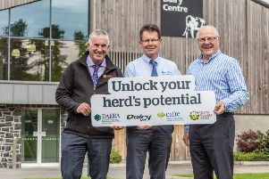 Unlock your herd's potential is a conference for dairy farmers organised by CAFRE, Dairy UK and the UFU. (Conference launch, left to right, Victor Chestnutt UFU, Don Morrow CAFRE, and Dr Mike Johnston Dairy UK)
