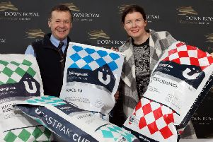 Down Royal Racecourse has signed a new sponsorship deal with Bluegrass Horse Feeds which will see the company supporting both race fixtures and have an ongoing presence at the course throughout 2020. Pictured are (l-r) Craig Kileff, Bluegrass Feed Consultant and Claire Rutherford, Sales & Marketing Director at Down Royal Racecourse.