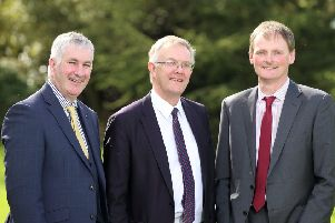 UFU president Ivor Ferguson with Deputy Presidents Victor Chestnutt and David Brown. Picture: Cliff Donaldson