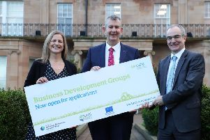 Agriculture, Environment and Rural Affairs Minister encourages farm businesses to apply to the Business Development Groups Scheme before the extended closing date of 4pm on Friday , January 31. Also pictured are Martin McKendry, CAFRE Director and Fiona Dickson, Agri-business Branch