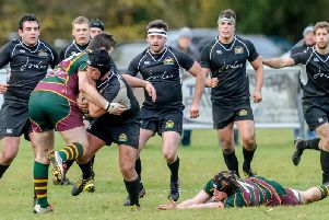 Action from Market Harborough's defeat at Old Laurentians