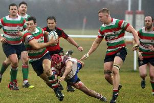 Lutterworth, pictured in action against Wellingborough earlier this season, edged a narrow win at the weekend