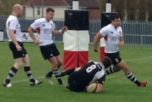 Ethan Godefroy crashes over for Harborough's first try