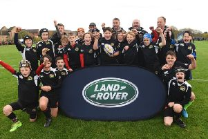 Market Harborough Under-12s show their delight after winning the Land Rover Premiership Rugby Cup event in Northampton, which earned them a day out at Twickenham. Picture by Ian Longthorne