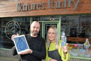 Matthew Wray and Emma Steed of Nature's Pantry have launched a scheme where you can refill you empty water bottle to save plastic.'PICTURE: ANDREW CARPENTER NNL-180131-090122005