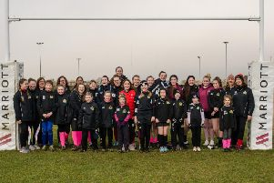 England star Jess Breach (centre)  who scored 11 tries in her first two games for her country during the Autumn internationals  visited Market Harborough at the weekend. As part of the clubs ladies weekend, Breach helped to coach the under-18s and was presented with a Harborough shirt as a thank you. Breach has recently joined the England Sevens set-up and is this week off to Japan for the Okinawa World 7s. Picture Nick Sida Photography