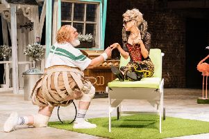 David Troughton and Beth Cordingly as Sir John Falstaff and Mistress Ford. Picture: Manuel Harlan