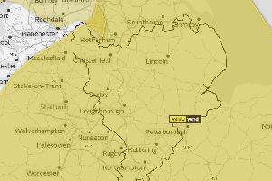 The East Midlands highlighted in the yellow warning zone