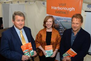 Launch of the new Visit Harborough website and tourism guide at Nevill Holt, Councillor Phil King, Rosenna East and David Ross. PICTURE: ANDREW CARPENTER