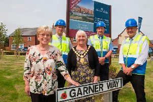From left, Dorothy Burt, Alan Wright (Trainee Assistant Site Manager at David Wilson Homes), council chairman Cllr Barbara Johnson, James Bailey (assistant site manager at David Wilson Homes) and Steve Curtis (site manager at David Wilson Homes)