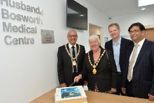 Cutting the cake to launch the Husbands Bosworth medical centre