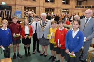 Chairman Barbara Johnson handed out saplings to Bringhurst, Dunton Bassett, Gilmorton Chandler, Market Harborough C of E, Welland Park Academy and Ullesthorpe schools during the Civic Eco Service at the Methodist church..'PICTURE: ANDREW CARPENTER