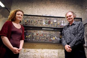 Michael and Rachael Linton with the Medieval Mosaic in the Crypt Gallery of St Mary in the Castle