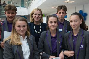 Amber Rudd MP with students from The St Leonards Academy at the Jobs and Apprenticeships Fair
