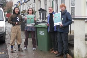 Hastings Green Party members collecting signatures for its petition to get Hastings Borough Council to recycle and collect food waste. Photo courtesy of Hastings Green Party SUS-161213-145408001