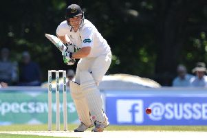Luke Wright batting on the opening day for Sussex at Arundel. Picture by Steve Robards SR1716098