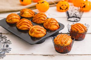 Nutella banana muffins with salted caramel