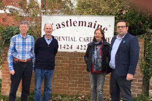 Cllr Rob Lee, right, with residents outside Castlemaine care home