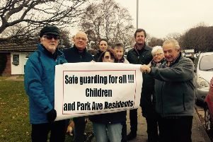Cllr Batsford, third from right, with concerned residents